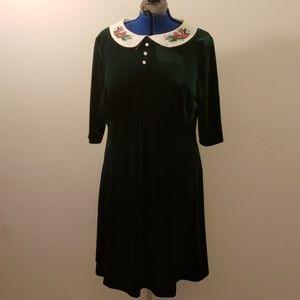 Hell Bunny Velvet Holiday 1950's Collared Dress